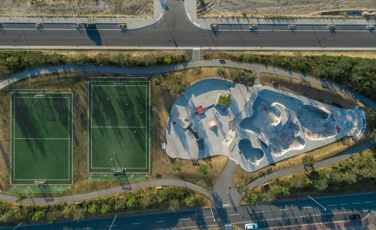 Drohnenfoto Luftaufnahme Skatepark Ueberseestadt Bremen
